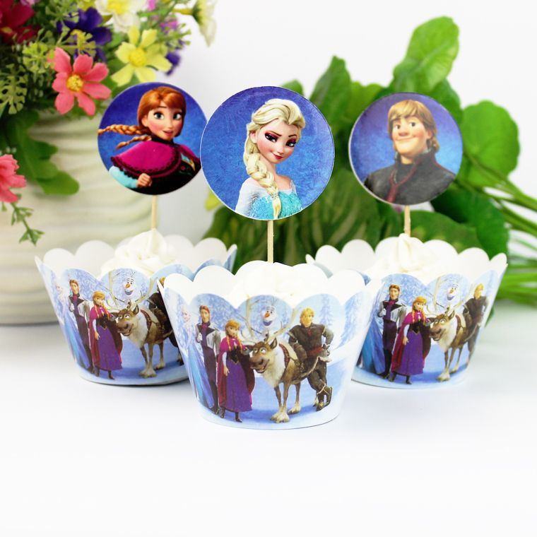 120pc  Frozen Party Paper Cupcake wrappers toppers for kids birthday party decoration cake cups(60pcs wraps+60pcs toppers)