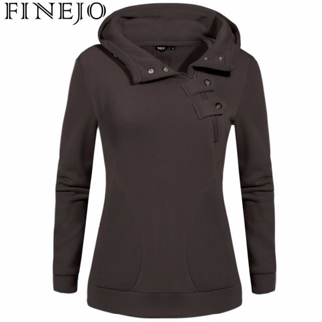 FINEJO XXXL Plus Size Sweatshirt 2017 Women Fashion Patchwork Pullover Hoodies Solid Color Long Sleeve Casual Zipper Coat