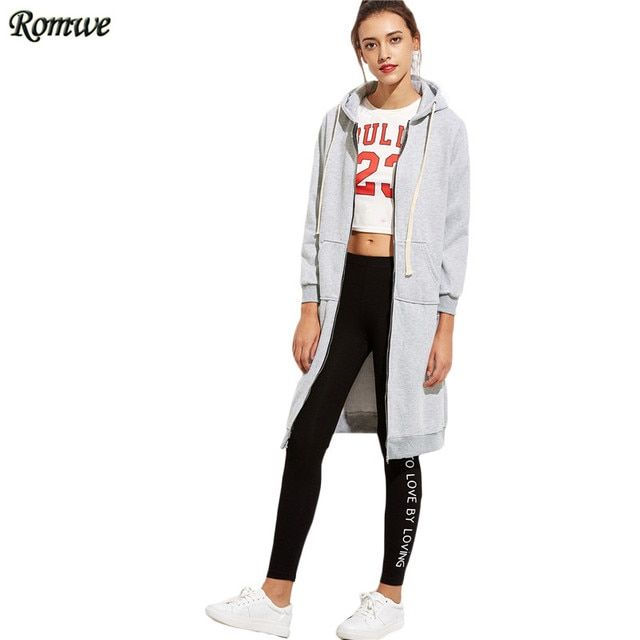 ROMWE Women Zip Up Hoodie Causal Sweatshirt For Autumn Plain Grey Long Sleeve With Pockets Hooded Long Sweatshirt