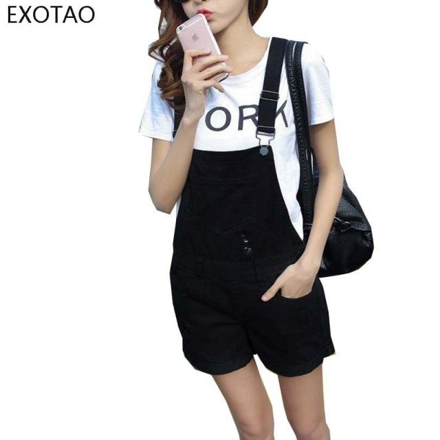 EXOTAO College Wind Summer Denim Bodysuit Shorts Slim Straps Loose Plus Size Jumpsuit Casual Vintage White Black Pink Overalls