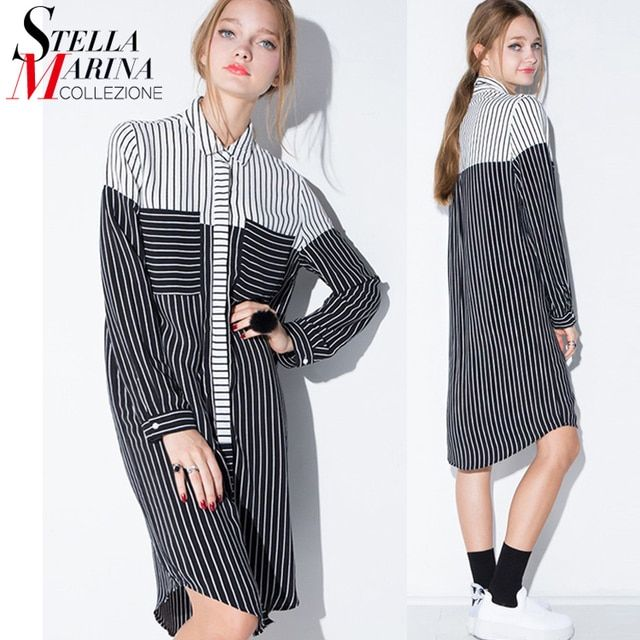 New 2017 European Fashion Women Long Blouse Striped Dress Shirt Black Grey Patchwork Long Sleeve Hidden Button Female Shirt 1618