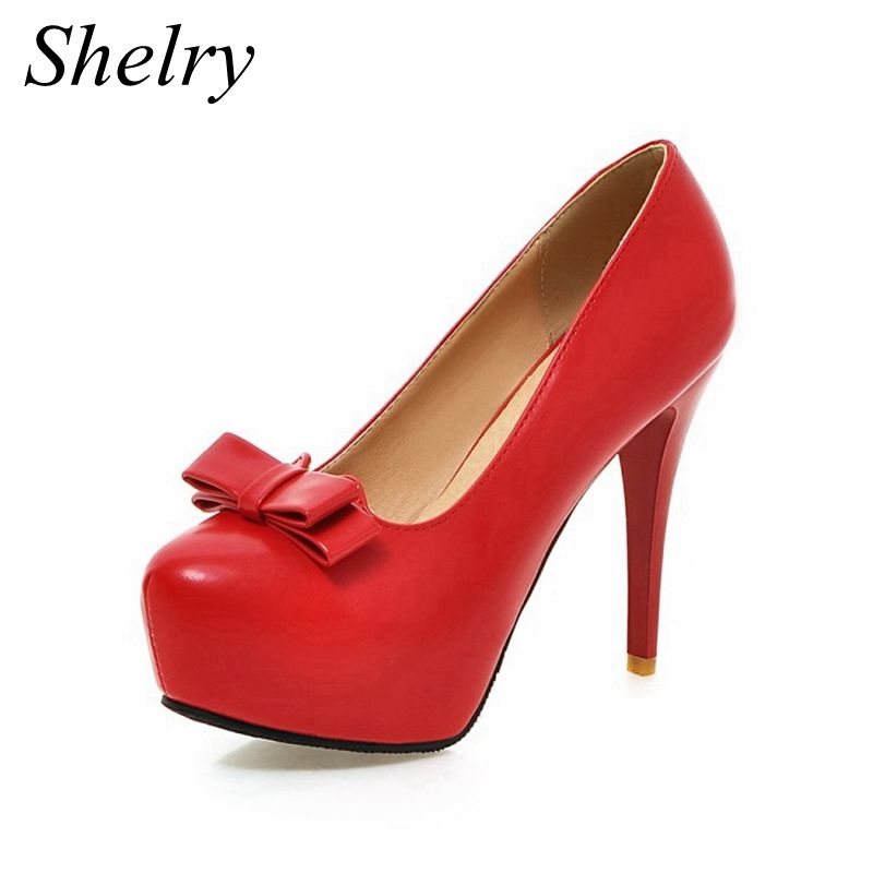 super high heels 2017 red bottom high platform pumps soft leather shallow mouth women pumps fashion women's shoes with heels
