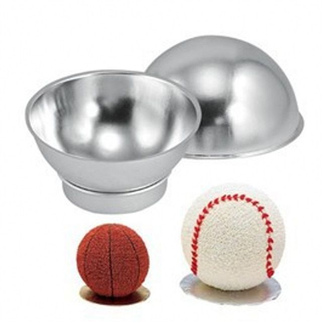 2pcs Aluminum Ball Sphere Cake Pan Tin DIY Baking Pastry Ball Mold Tools Mould Kitchen Molds Bath Bomb Bakeware E103