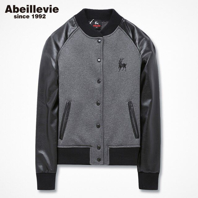 Abeillevie Fashion Cotton Fleece Women's Baseball Jackets Casual Leisure Sweatshirts Women Winter Soft Warm Girl's Hoodies 9008