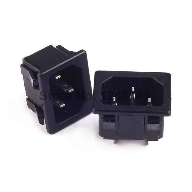 6PCS AC 250V 10A IEC320-C14 3Pin Male Plug Inlet Black Plastic Power Socket