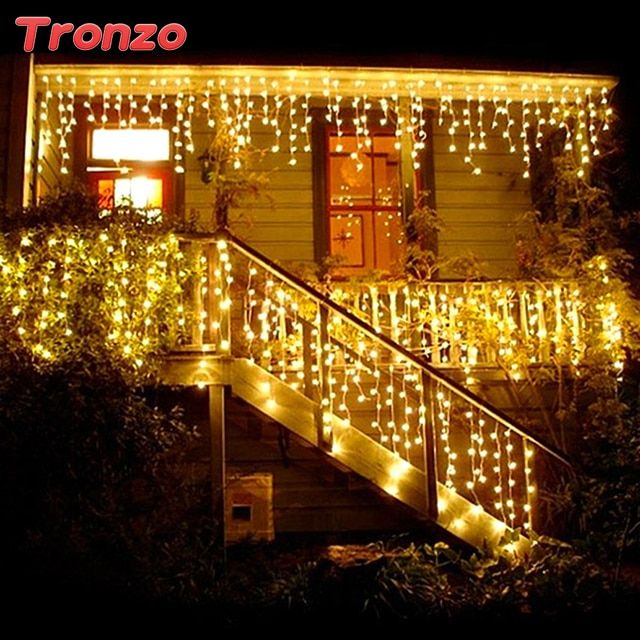 Tronzo DIY Tree LED Light Ornament 4m Multicolor Icicle Curtain Party Wedding Decoration Lights For Home 2017 EU Plug