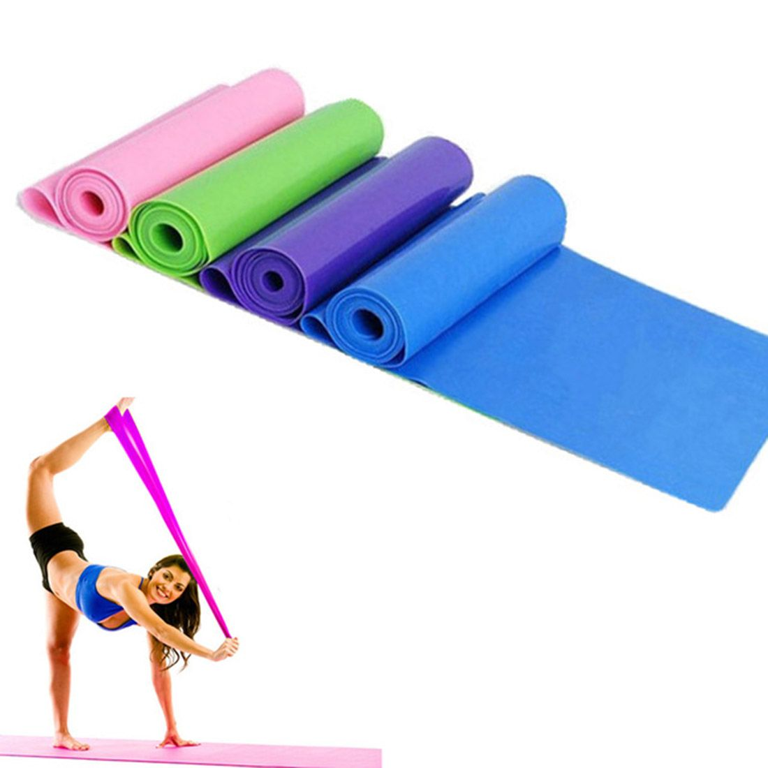 1.5m Yoga Pilates Stretch Resistance Bands Workout Elastic Exercise Training Rubber elastic bands for fitness