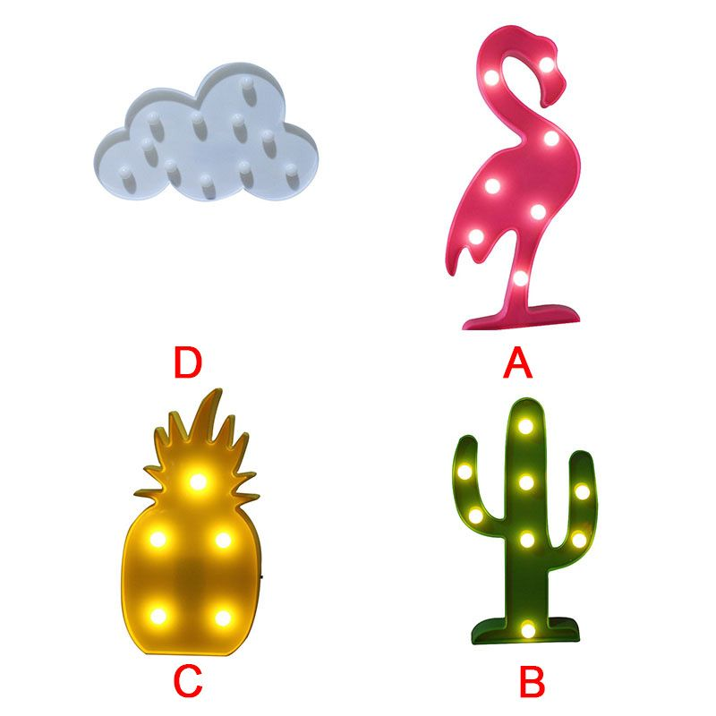2018 Hot style chic wind in South Korea led the flamingo cactus pineapple clouds Home Decoration lamp letters a night light