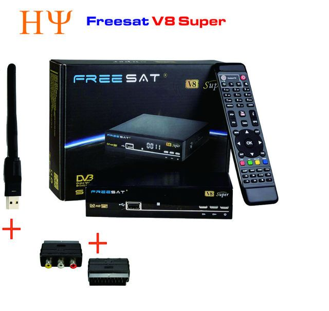 2PCS/LOT  Freesat V8 Super With WiFi Satellite Receiver WIFI DVB-S2 Tuner openbox v8 Super  Support USB wifi