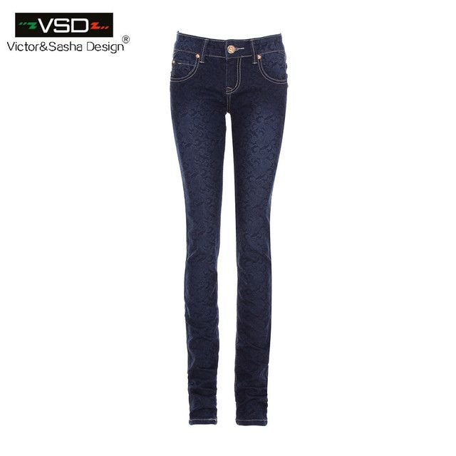 Hot Sale Skinny Jeans Woman Autumn New 2015 Pencil Jeans For Women Fashion Slim Blue Jeans Low Waist Women's Printed Denim Pants