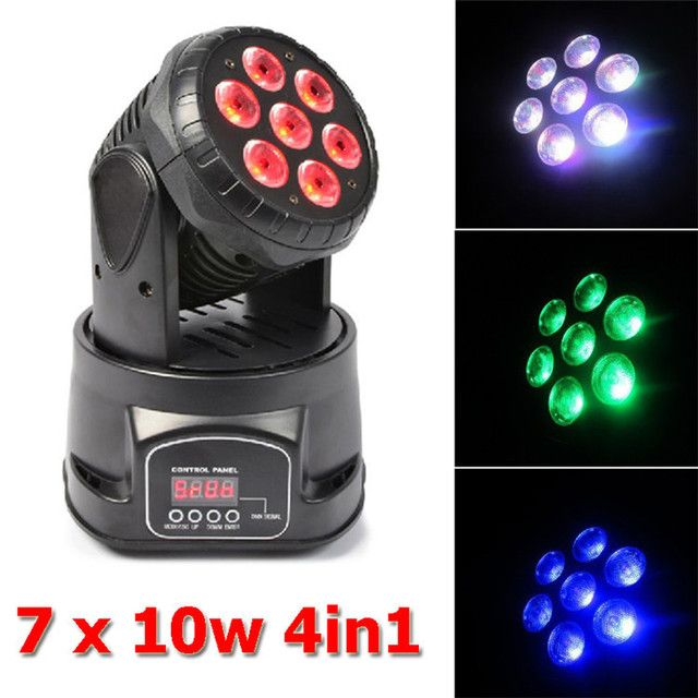 Eyourlife New Coming 7X10W RGBW 4in1 LED Mini Moving Head Lighr Club DJ Stage Lighting by DMX-512 controller