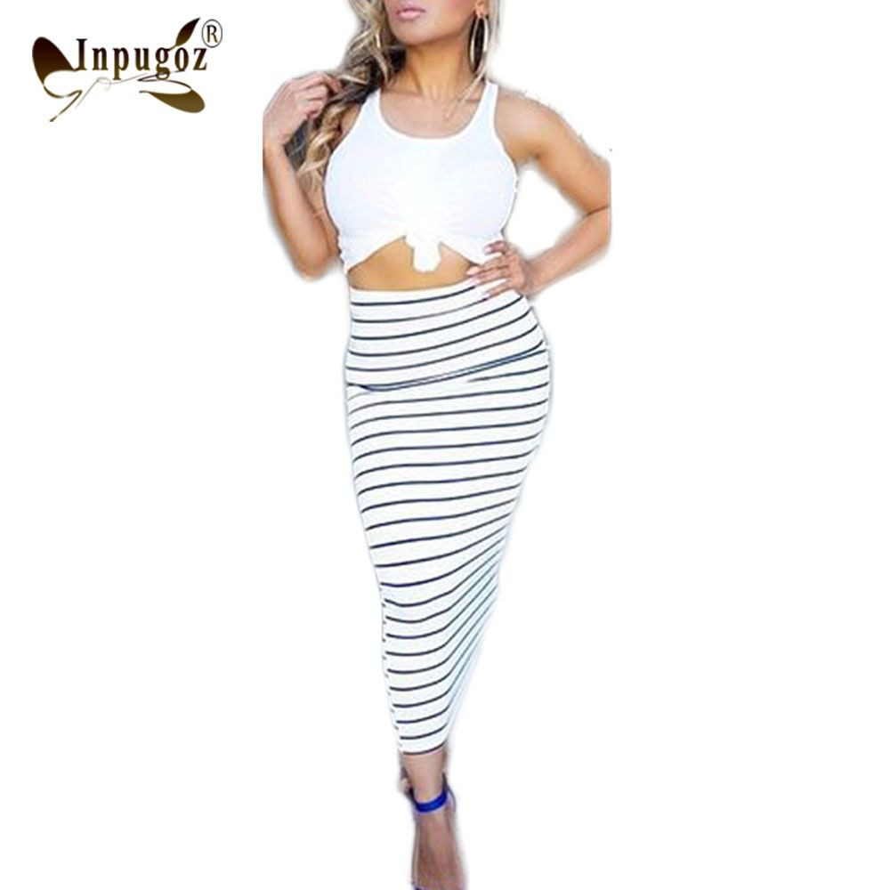 Tank Top With Bodycon Skirt Women Summer Casual Dress Suits Female 2 Pieces Set
