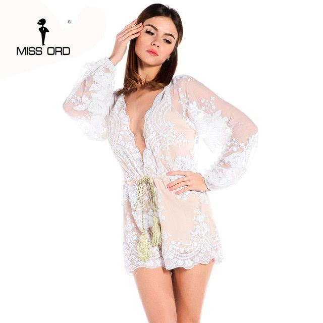 Free shipping Missord 2018  Sexy v-neck long-sleeved sequins playsuit  FT3816