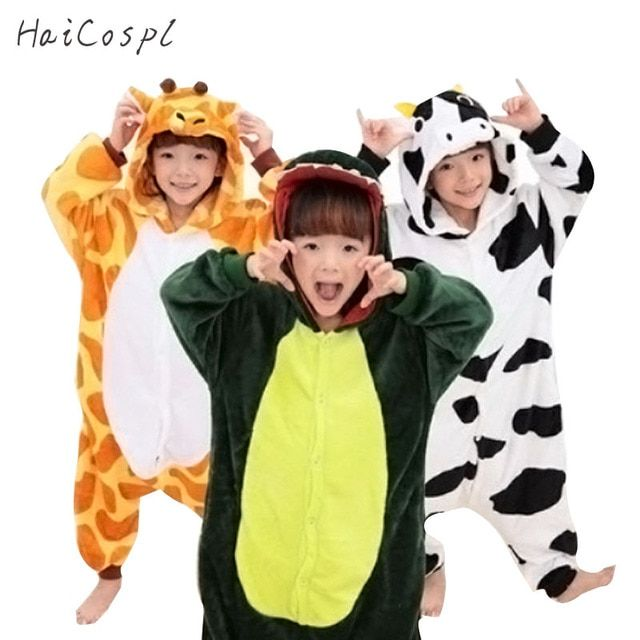 Flannel Animals Kigurumi Cosplay Onesie Warm Anime Kids Pajama Set Lovely Fancy Baby Children Sleepwear Unicorn Pokemon Costume