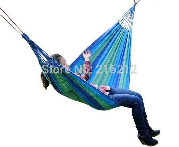 One Person Family Camping Camp One Person Canvas Outdoor Leisure Fabric Stripes Hammock