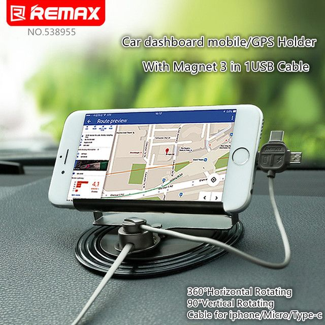 Remax Universal Car phone Holder with 3 in 1 Magnetic usb cable charging for iPhone 5 6 7 Plus/Note7 S7 Edge/usb type c for mi 5