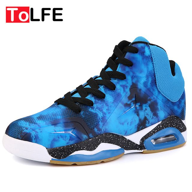 ToLFE New Air Cushion Damping Men Basketball Shoes Strong Grip Mens Basketball Sneaker Mid Cut Sport Shoes Zapatillas Baloncesto