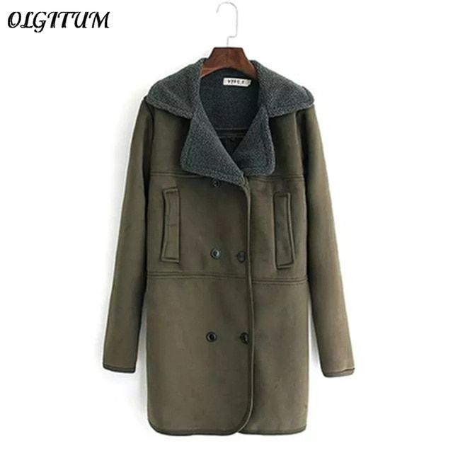 2017 Winter New Woman Suede Coat large size thicken warm Wool Coat long section lamb wool coat army green Parka 4XL
