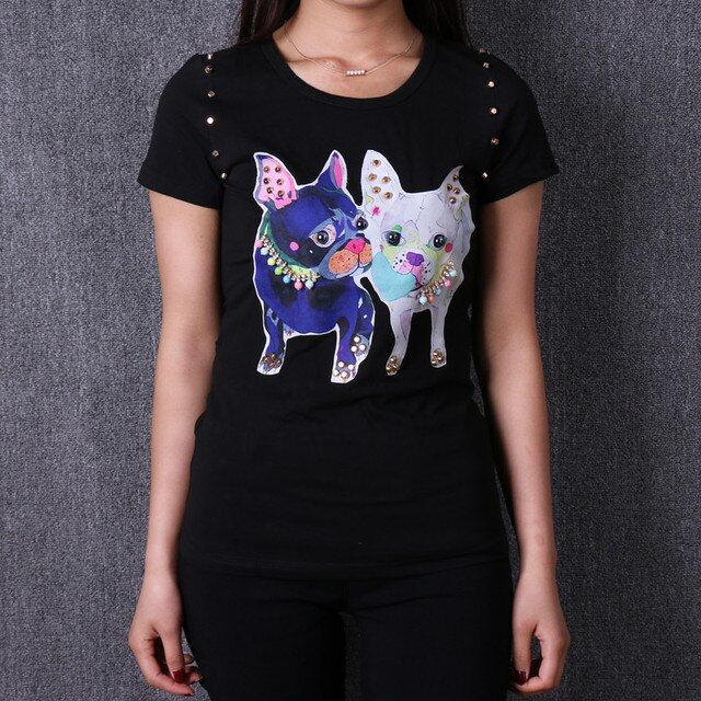 2016 winter spring women cotton printed cartoon rhinestone t shirt tee top girl short sleeve casual European famous brand hot