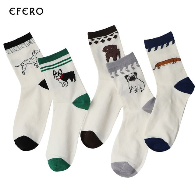 3Pair New Comfortable White Men's Socks For Men Husky Pugs 5 Style Faithful Dog Embroidery Happy Socks Chaussettes Homme Lot