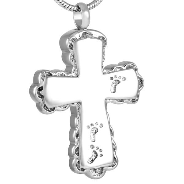 IJD8634 Hot Sale Human footprint With Cross Cremation Necklace Jewelry 316L Stainless Steel Memorial Urn Ashes Keepsake Pendant