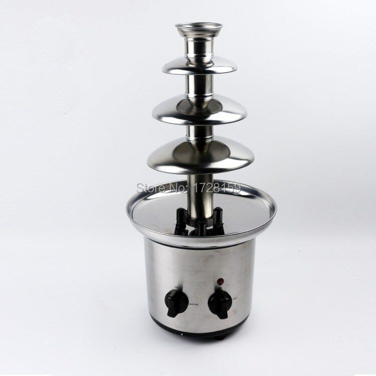 High quality Stainless Steel 4-Tiers small mini home chocolate fondue fountain Machine Choco Tree for Wedding Children Birthday