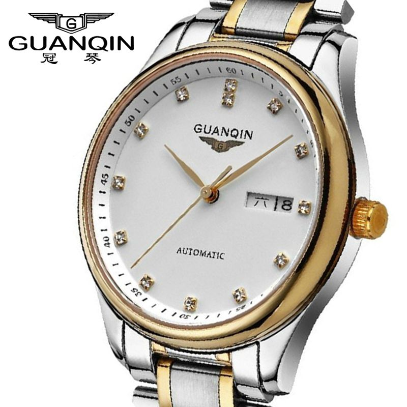 Tops Luxury Brand GUANQIN New Watches Men's Automatic Watch Waterproof Sapphire Fashion Diamond Wristwatch Hours Male Watches