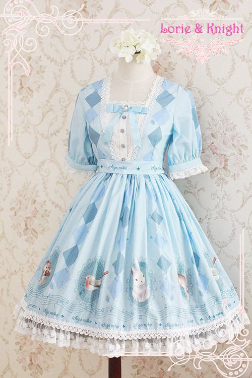 Japanese Harajuku Kawaii Squirrel & Rabbit Forest Carol Alice in Wonderland Inspired Sweet Lolita Dress OP