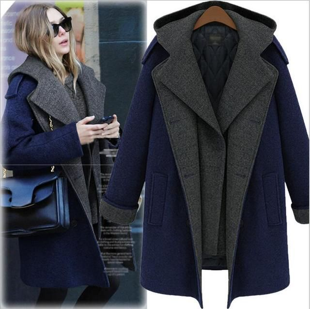 M-5L Plus Size Winter Wool Coat Women 2016 Long-sleeved Thicken Turn-down Collar Double Breasted Cashmere Woolen Coat BF392