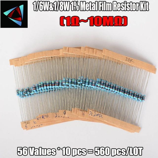 1/6W&1/8W 1% Metal Film Resistor Kit 560 Pcs 56 Values Assortment/Pack/Mix/Selection