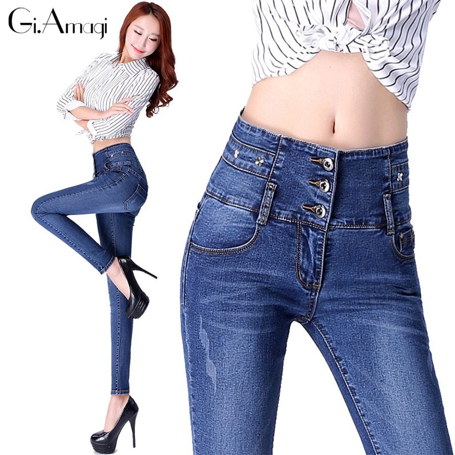 Jeans Women 2017 casual denim skinny jeans Blue Snowflake trousers for women pants solid plus size denim pants #GRP025