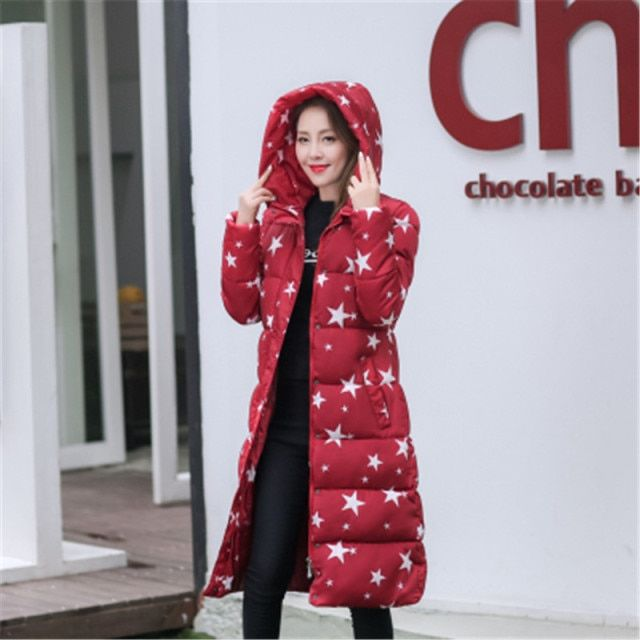 Womens printing jackete down extreme winter plus size casaco de clothes warm long parkas female hooded wadded mujer coat MZ905