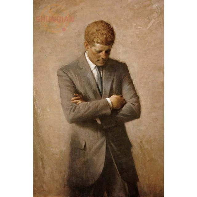John F Kennedy White House Portrait Poster Custom Canvas Poster Art Home Decoration Cloth Fabric Wall Poster Print Silk Fabric