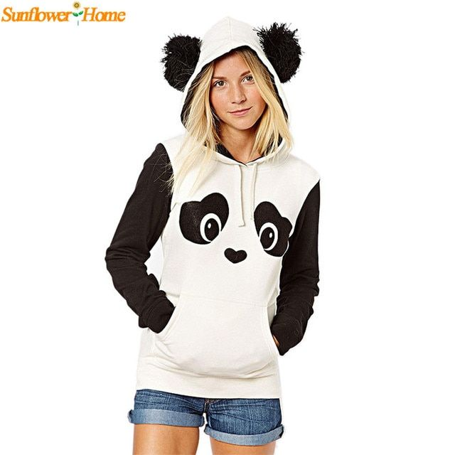 Newly Design  Womens Casual Cute Panda Pocket Hoodie Sweatshirt Hooded Pullover Tops Winer Clothing Blouse 160922 Drop Shipping