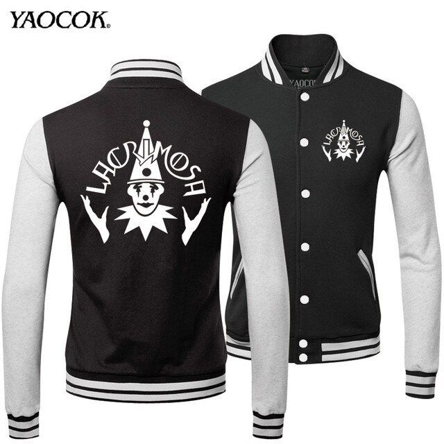 2016 Fashion Winter New Style Tracksuit Cotton Slim Fit Casual Printed Lacrimosa Rock Band Black Mens Coats And Punk Jackets
