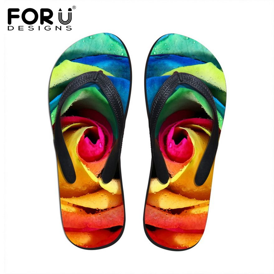FORUDESIGNS 3D Colorful Floral Printing Slippers for Women Fashion Summer Beach Shoes Rubber Sandals Female Flower Flip Flops