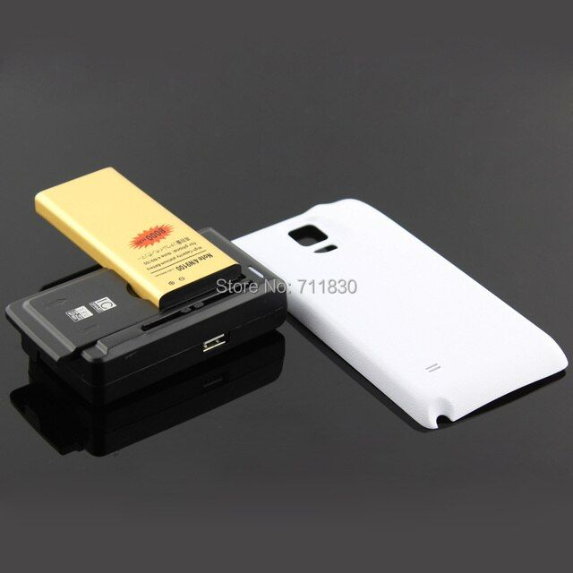 Note 4 Battery 6250mAh + White/Black Back Case Cover +Universal Wall Charger For Samsung Galaxy Note 4 N9100 SM-N910F SM-N910C