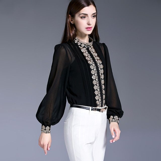 Ladies Office Shirts Brand Women Spring Clothes New 2017 Long sleeve Pure Silk Chiffon Blouses Vintage Embroidery Blusas Top