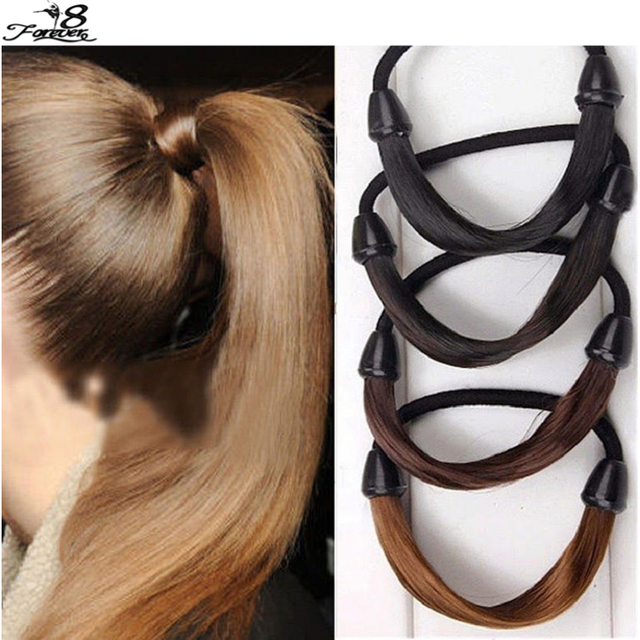 2 pcs Girls Modern Woman Korean Style Hairpiece accessories Rope Hairband Accessories Synthetic Wig Elastic Headwear