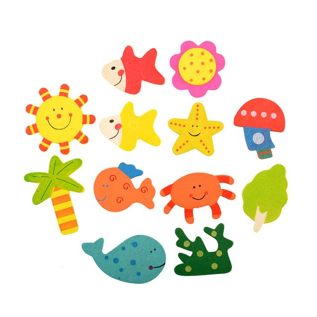 12pcs/Set Colorful Kids Baby Wood Wooden Cartoon Pattern Fridge Magnet Educational Toy
