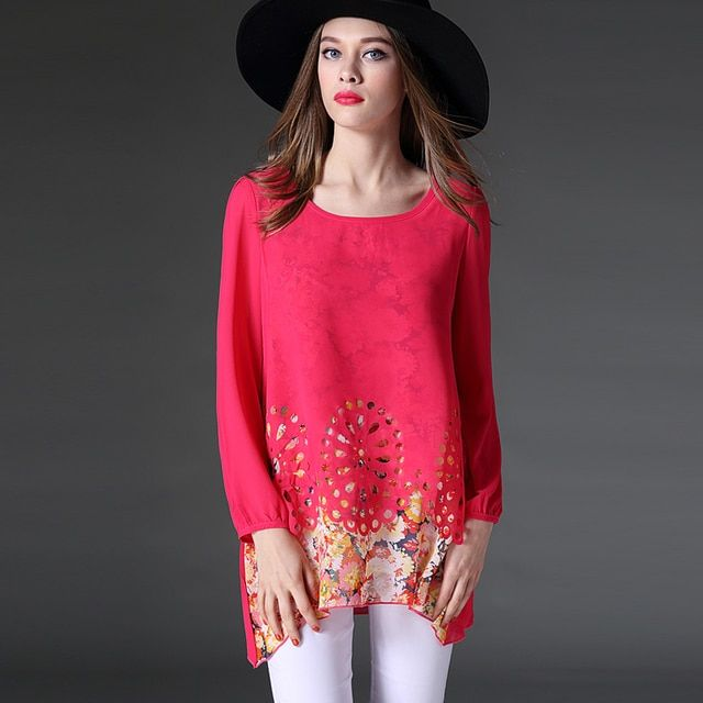 Spring New 2017 Plus Size Long-sleeve Fancy Loose Print Hollow Floral Chiffon Blouse&shirt For Women L/XL/XXL/XXXL/4XL 6032