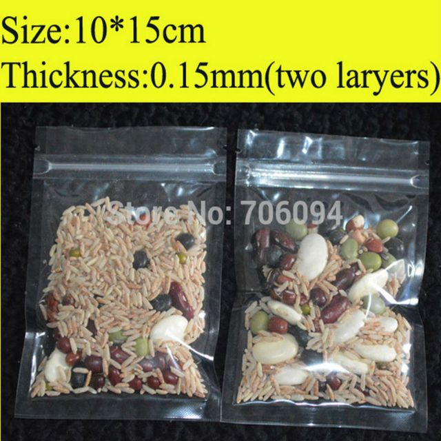 10x15cm 4''x5.9''  Clear Resealable Plastic Bags Zip Lock plastic  Bag  PET food grade plastic pouch 200pcs/lot Wholesale
