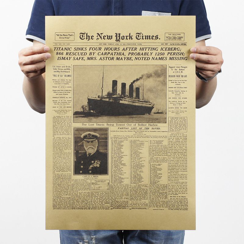 The New York Times The Titanic Sank Headlines Vintage Posters Wall Stickers Kraft Paper Movie Posters Bar Decorative Painting