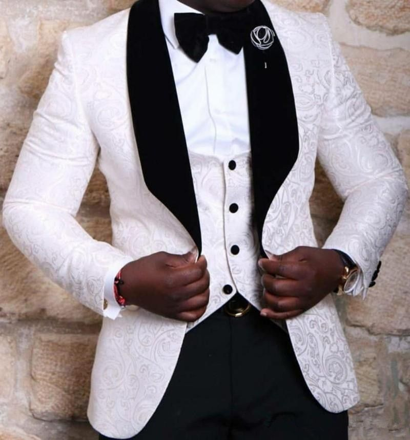 2016 Brand New Groomsmen Pattern Groom Tuxedos Red White Black Men Suits Wedding Best Man Blazer (Jacket+Pants+Bow Tie+Vest)