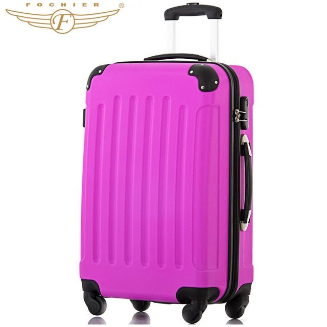 Waterproof Wear-resistant Hardside Purple Trolley Luggage Suitcase 1 Piece 20 24 28 Inches Super Silent 4 Casters Fochier XQ008