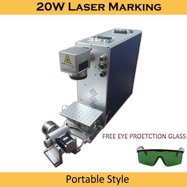 Laser Marking Machine 20W Fiber Optical  4th Rotary Metal Engraving Working Area Option 100x100|200x200mm Laser Marking Machine