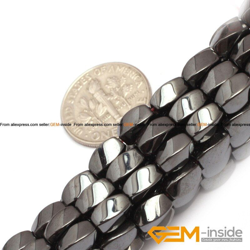 Twist Rectangle Magnetic Black Hematite Beads Natural Stone Beads DIY Beads For Jewelry Making Strand 15 Inches Fashion Bead