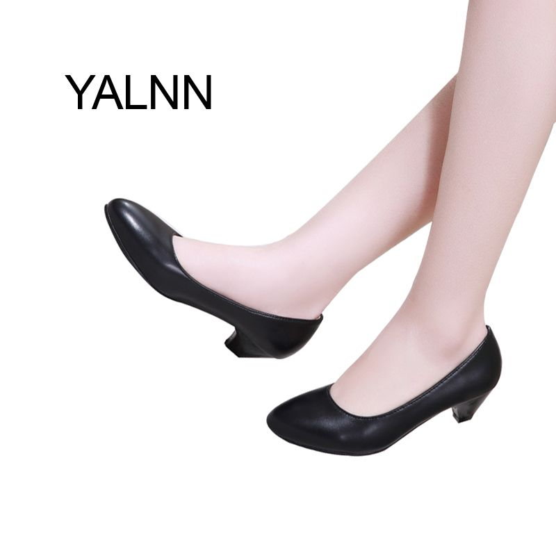 YALNN Fashion Black 3CM High Heels Pump Mature Women Shoes Dress Pointed Toe Office Lady Shallow Dress Pumps Women Shoes