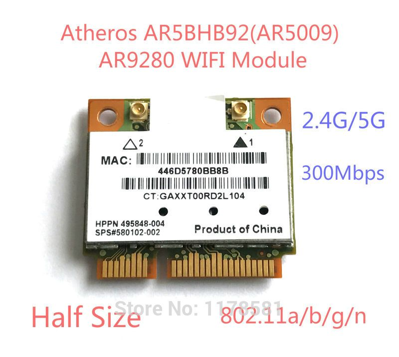 Atheros AR5BHB92 AR9280 AR5009 Dual-Band 2.4G/5GHz 802.11a/b/g/n 300Mbp Wireless wifi half mini pci-e Card