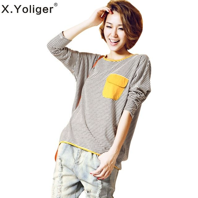 2016 new spring summer high quality Loose Fashion cotton Tops Round Neck long sleeve t-shirt striped Women Tees T1858